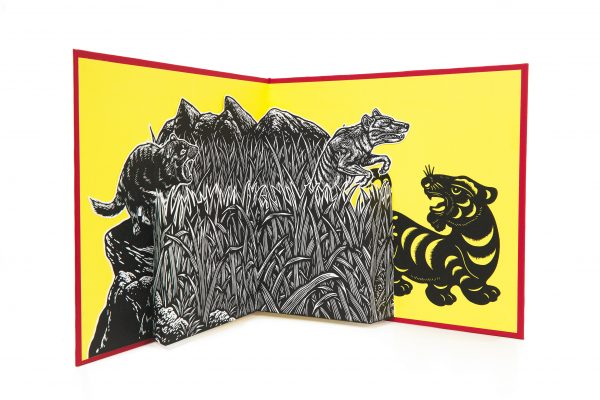 Ruth Cho Crossing Over, 2021 Handmade pop-up book using lino cut prints, embossed hard cover book, AP + Edition of 5, 35 x 27cm (closed)_Photo-Cian Sanders_LR